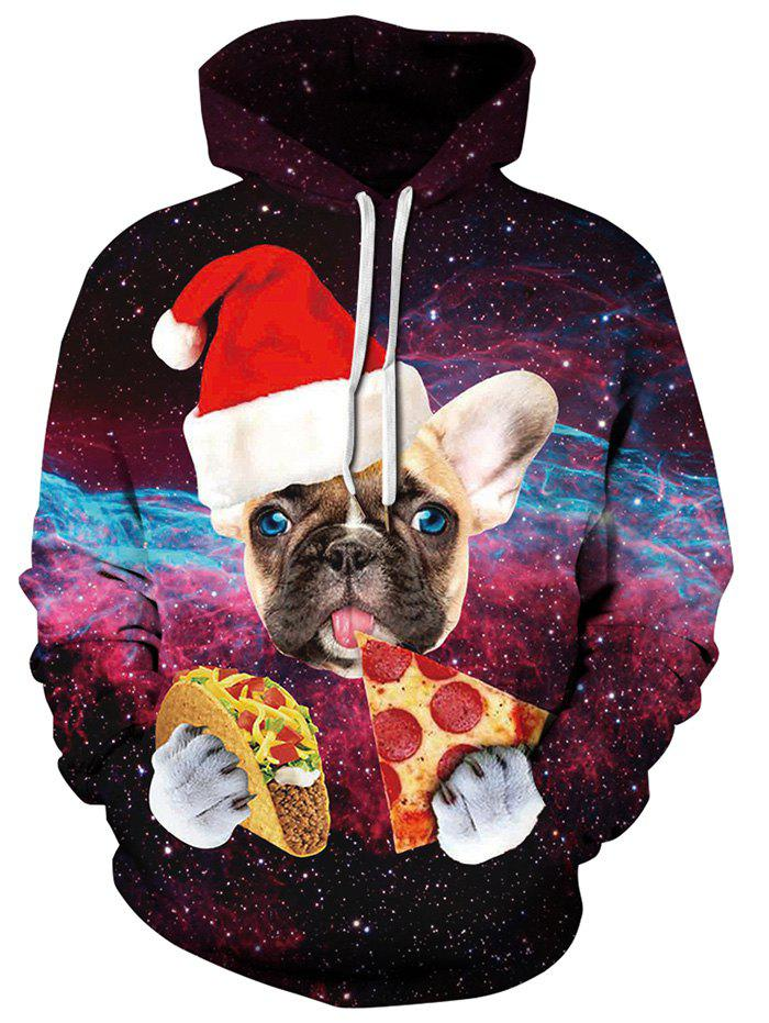 Sweat à capuche Galaxy Dog avec chapeau de Noël