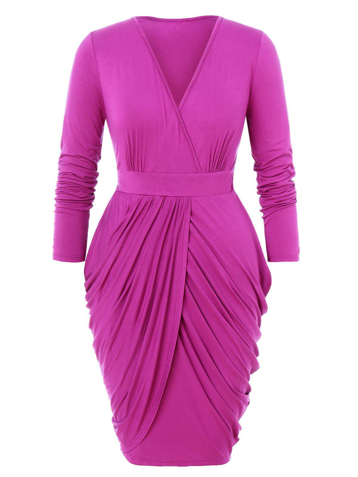 Cheap Plus Size Draped Design Wrap Tulip Dress