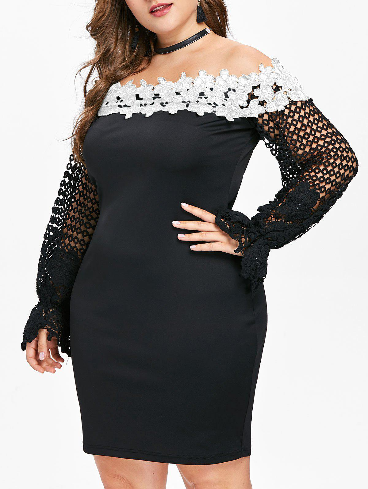 Cheap Applique Off The Shoulder Plus Size Bodycon Dress