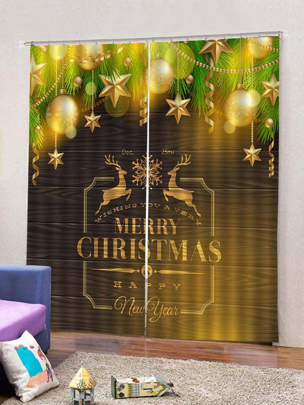 Hot Star Baubles Christmas Letters Print Window Curtains