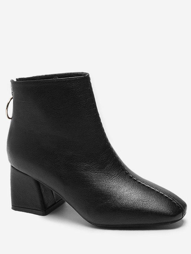 Cheap Square Toe Faux Leather Short Boots