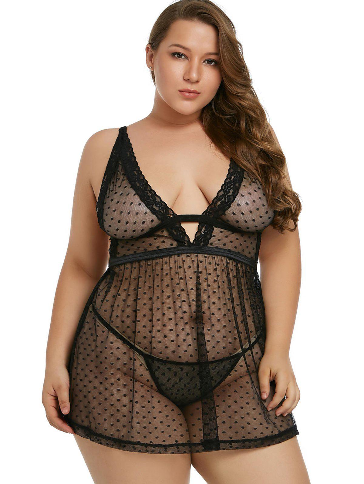22ee6af75f6 27% OFF  Lace Panel Plus Size See Through Babydoll