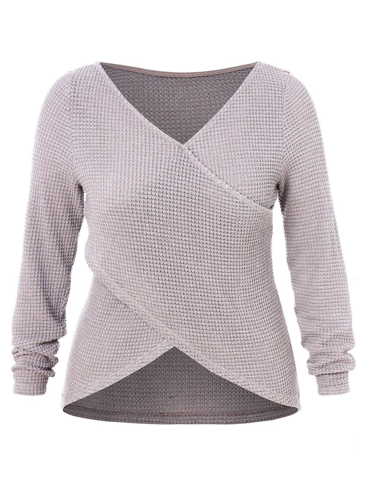 Hot Plus Size Criss Cross High Low Wrap Sweater