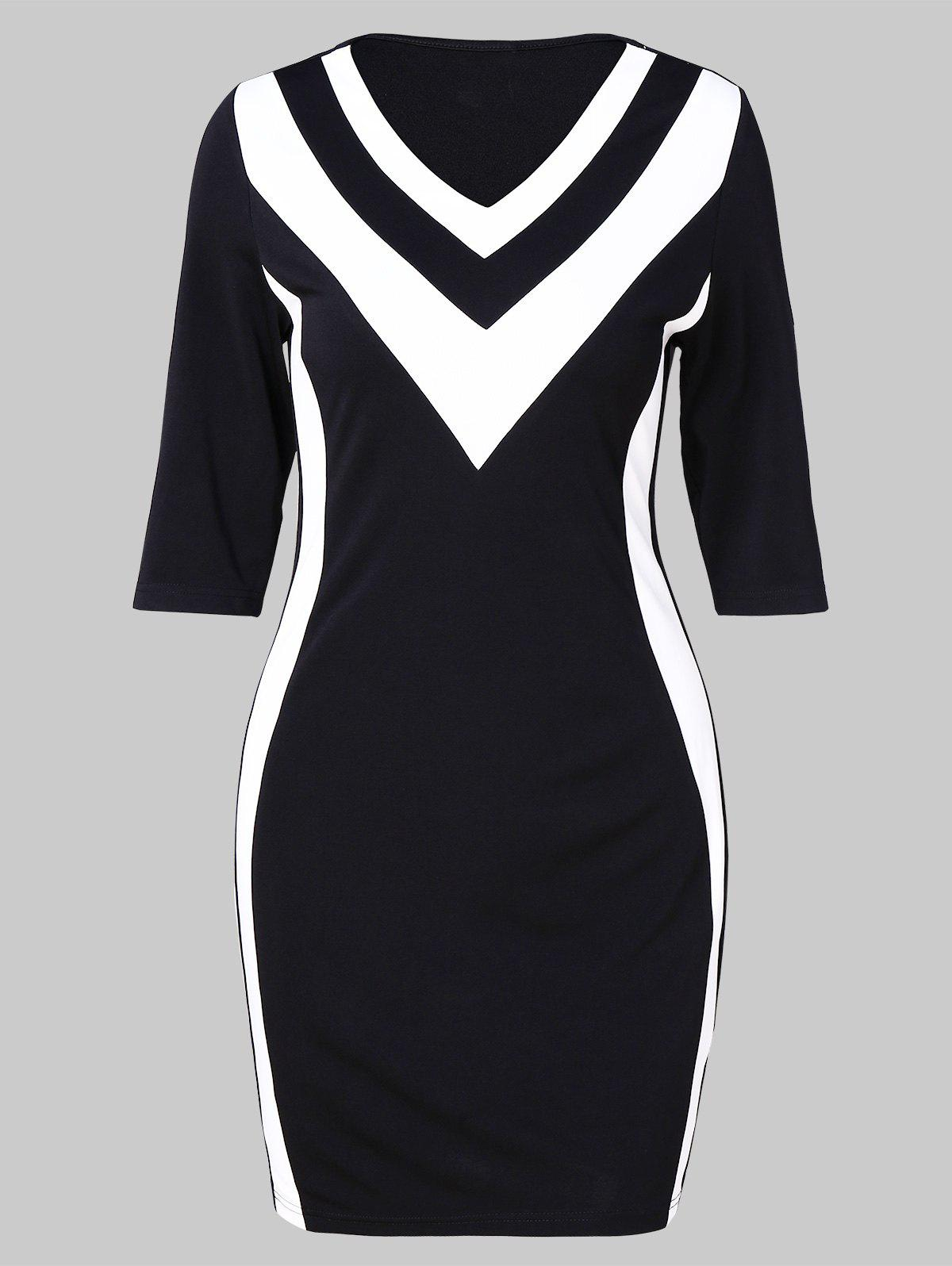 346f262b2a2 2019 Zig Zag Two Tone Bodycon Dress
