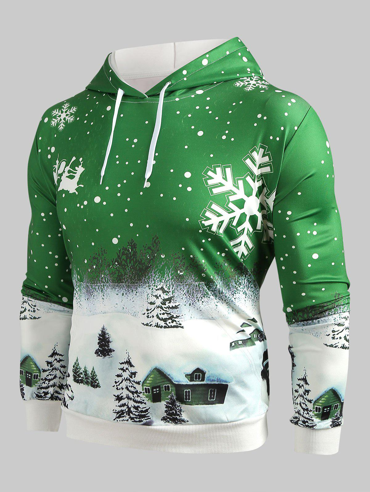 Affordable Drawstring Christmas Snowflake Print Hoodie