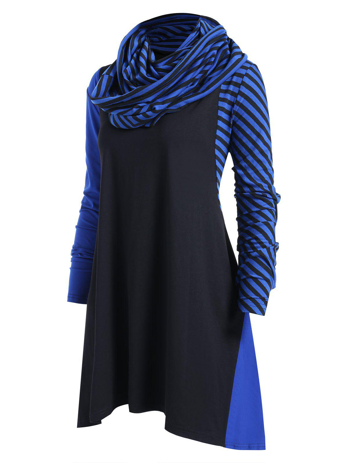 Cheap Plus Size Striped Panel Asymmetrical Dress with Scarf