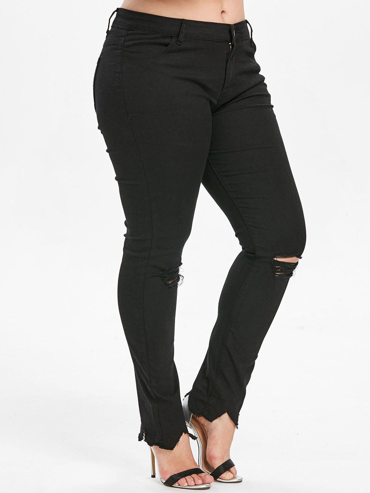 Latest Plus Size Frayed Jeans with Ripped