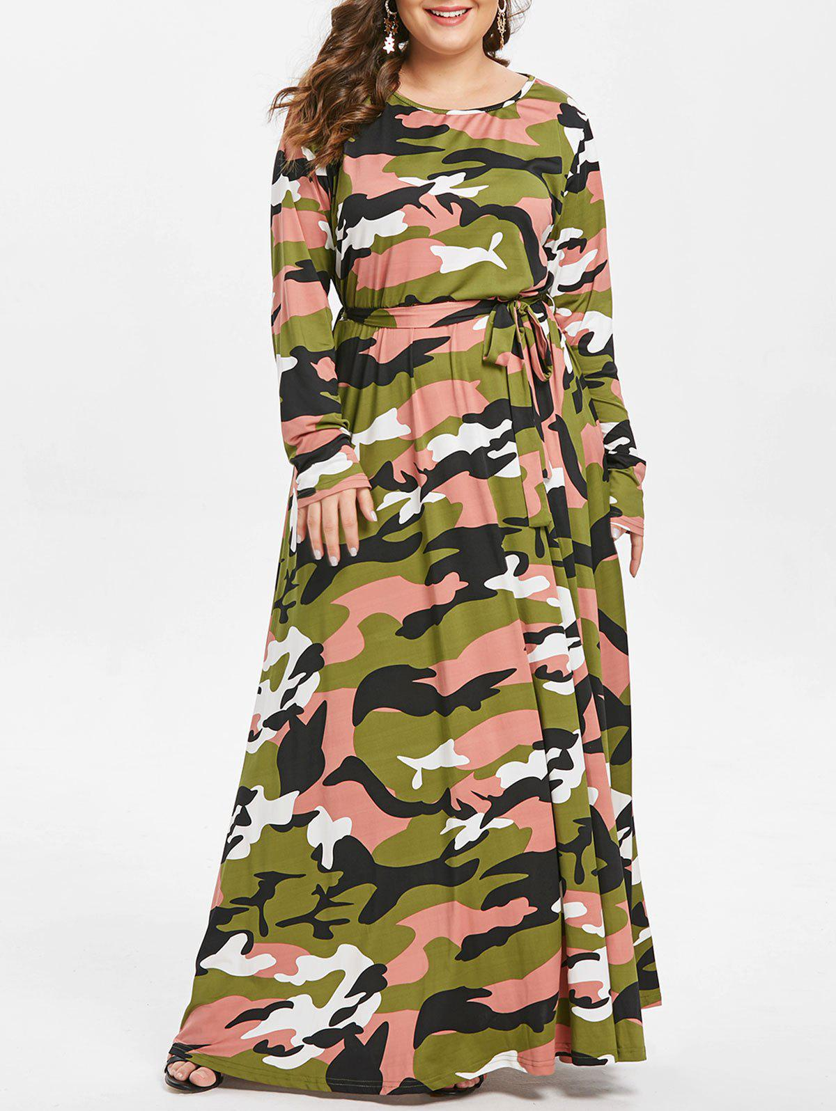 Store Round Neck Plus Size Camouflage Print Maxi Dress