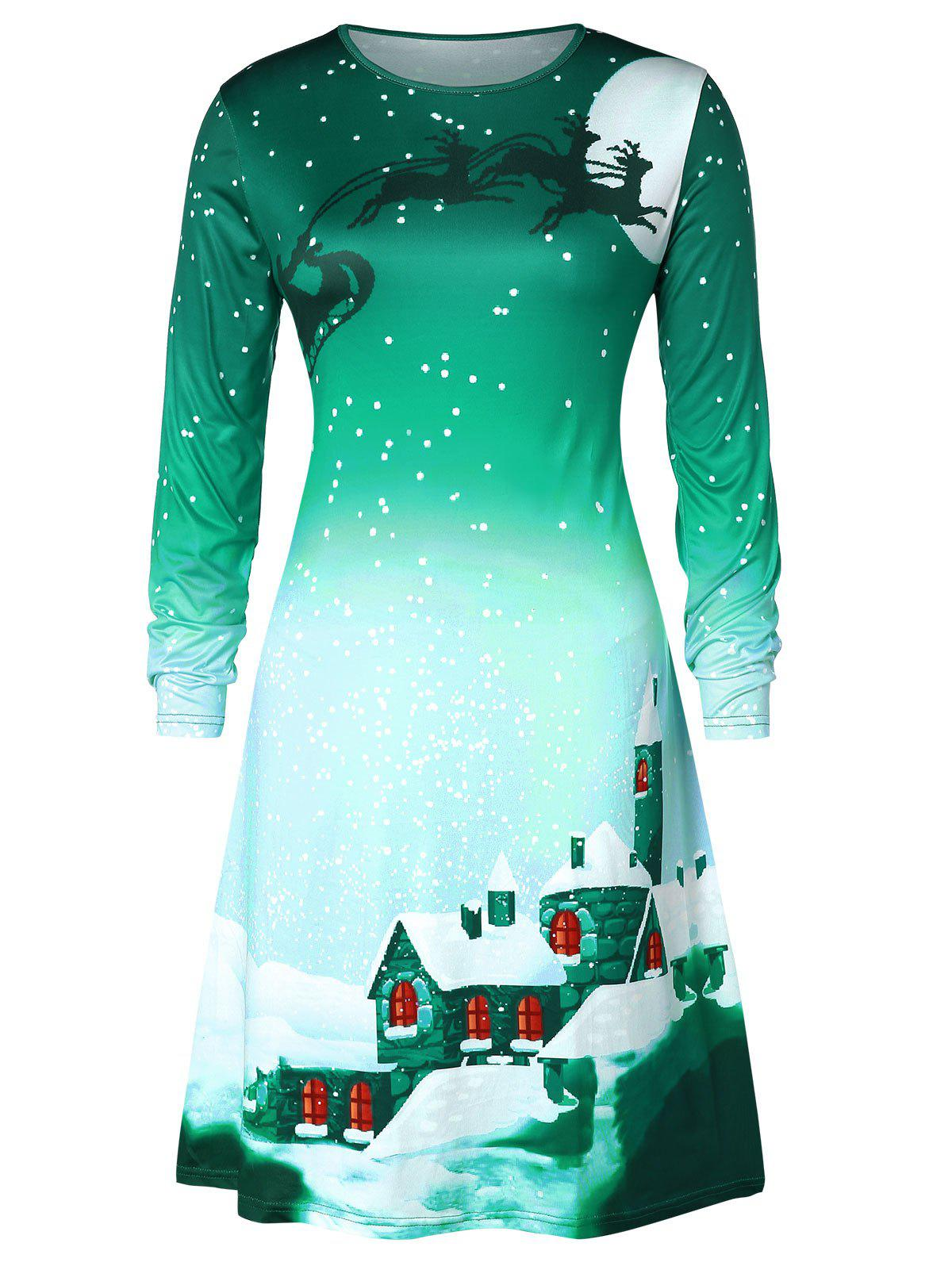 123ae5fe2c81 47% OFF] Christmas Plus Size Snowflake House Print Swing Dress | Rosegal