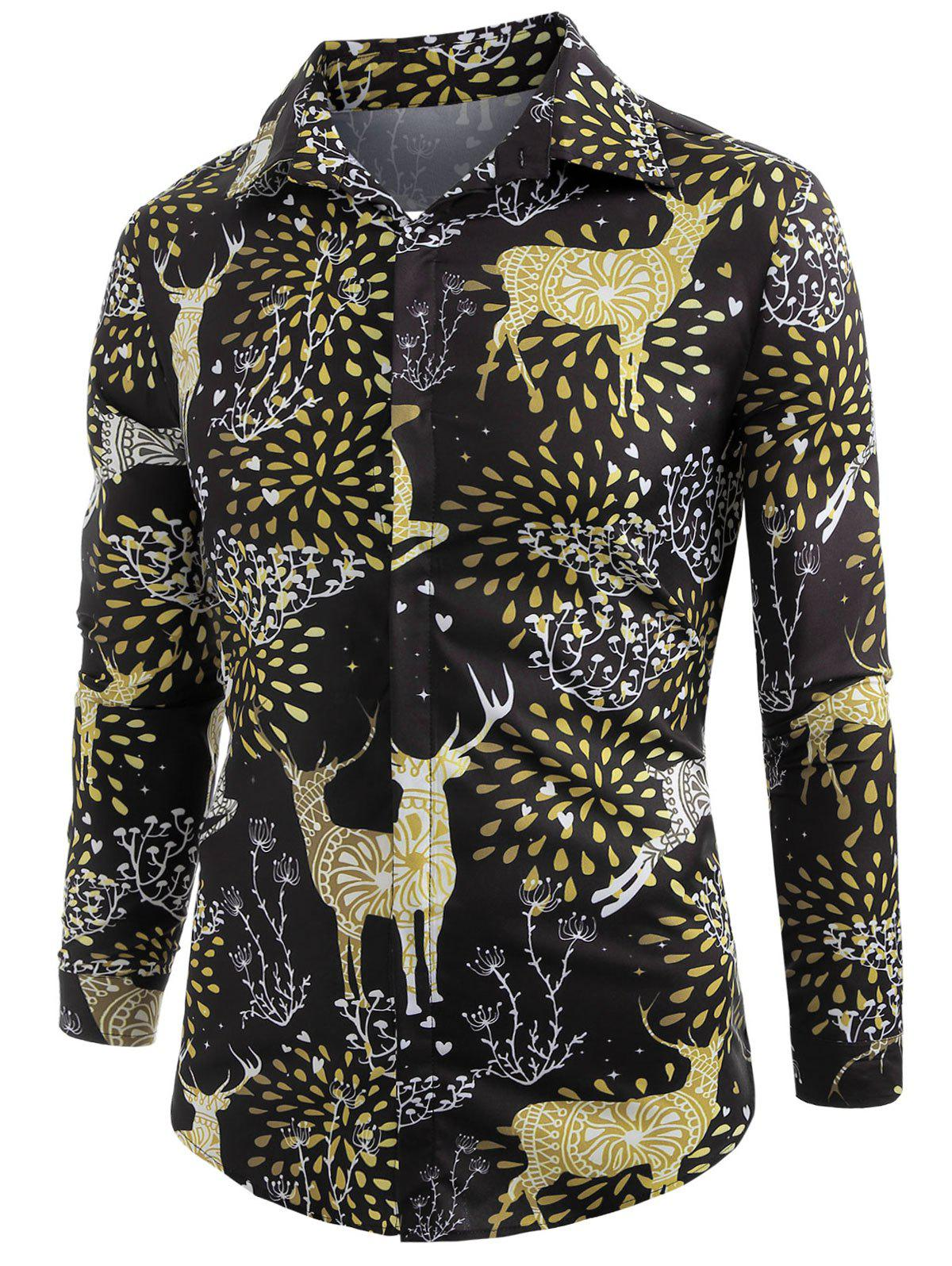 Sale Elk Print Christmas Long Sleeve Shirt