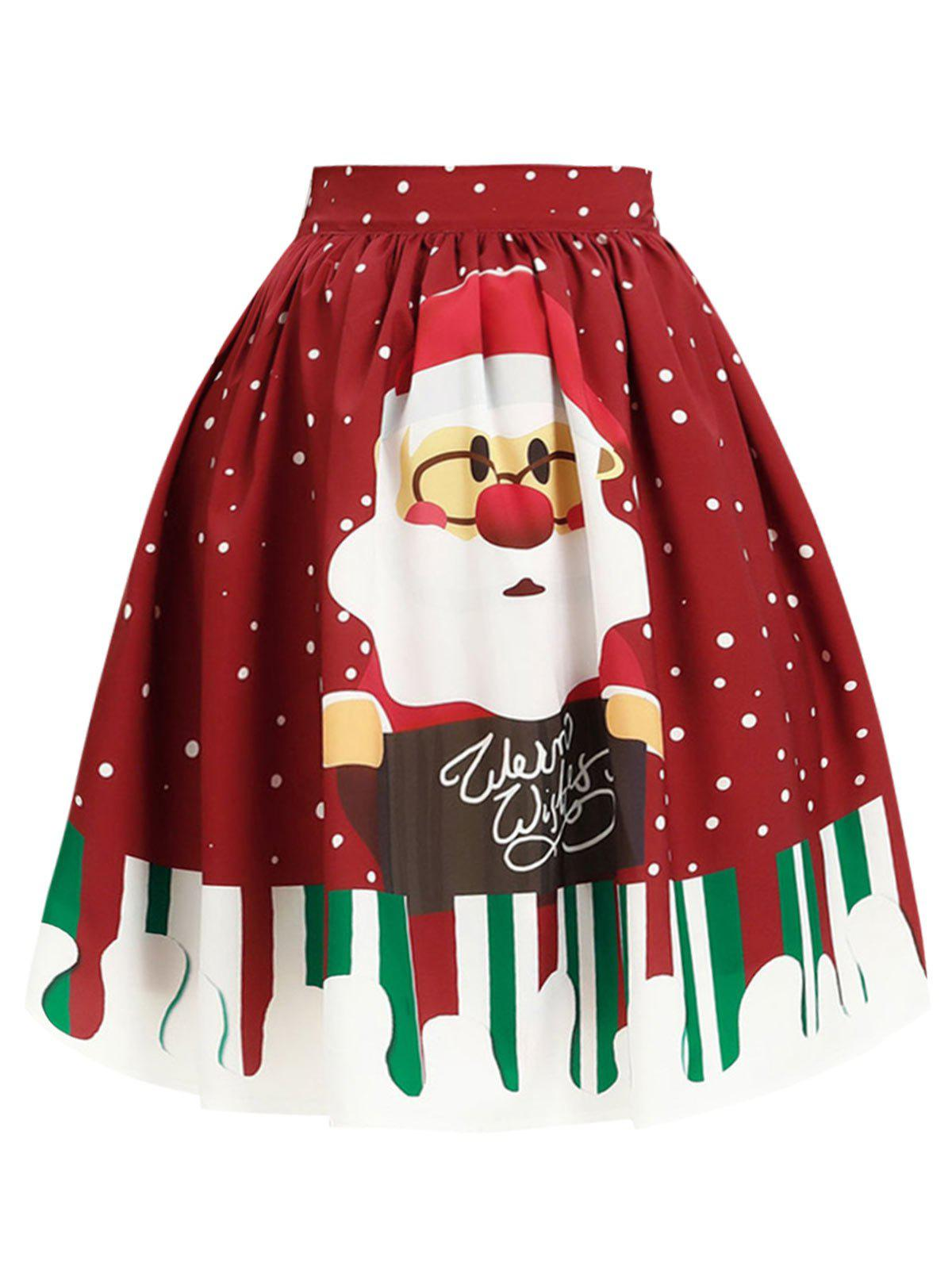 Affordable Plus Size Christmas Santa Claus Print Skirt