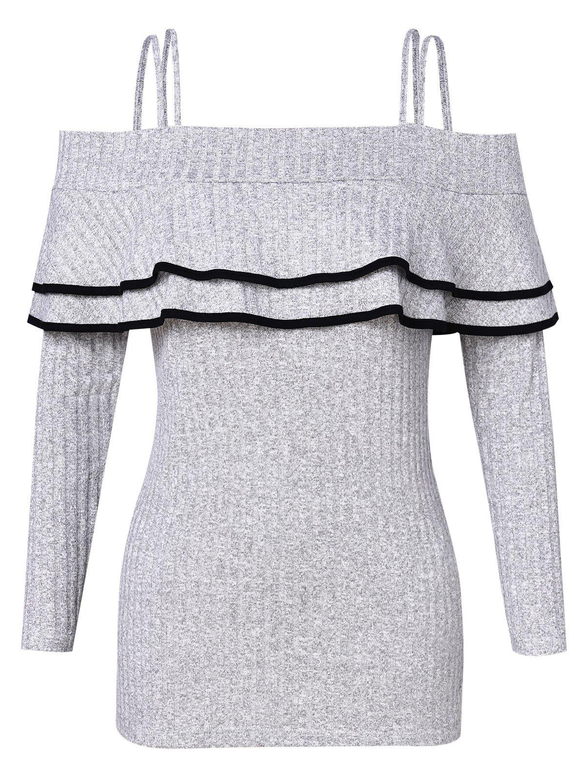 Best Plus Size Ruffled Contrast Cold Shoulder Knitwear