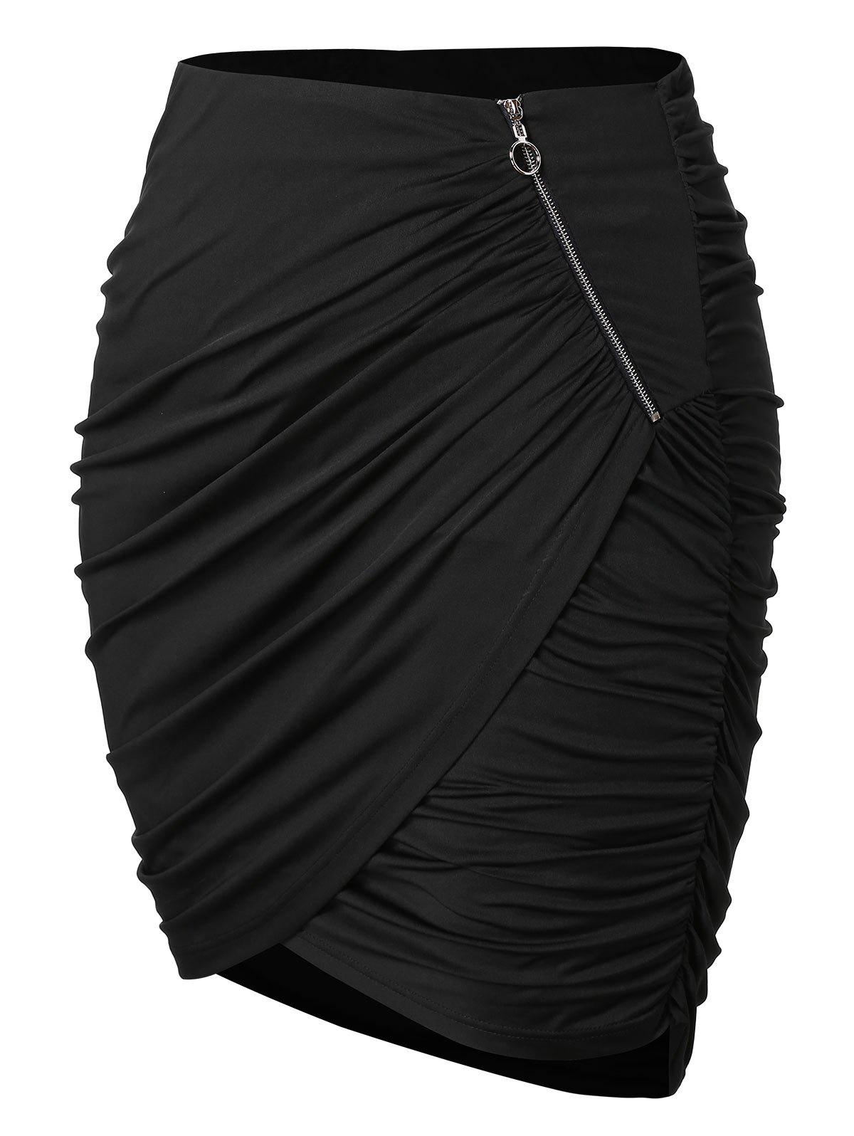 Trendy Plus Size Zipper Asymmetrical Ruched Skirt