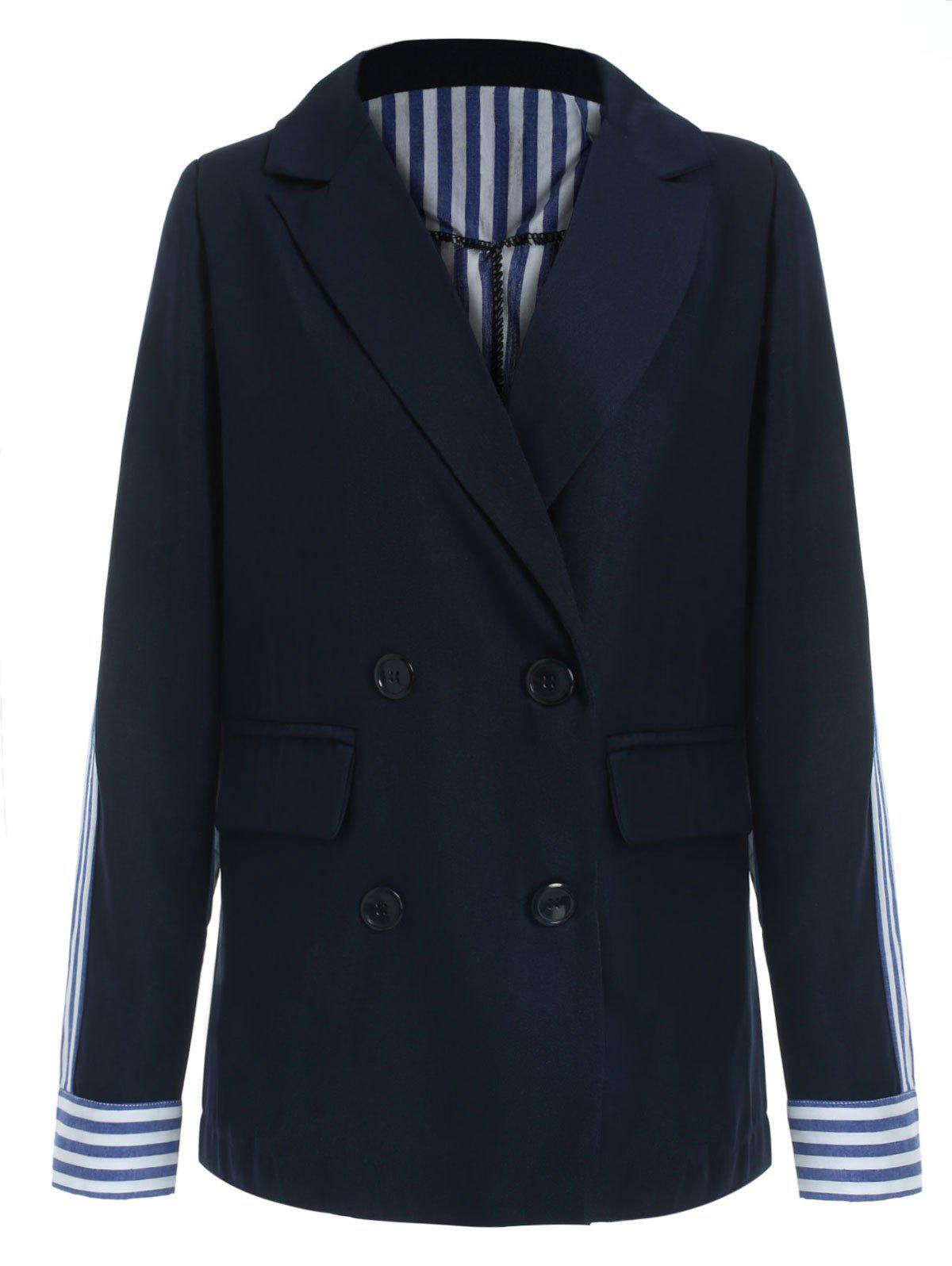 Best Double Breasted Striped Panel Blazer