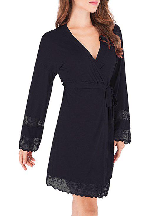 Outfit Lace Trim Belted Sleeping Robe