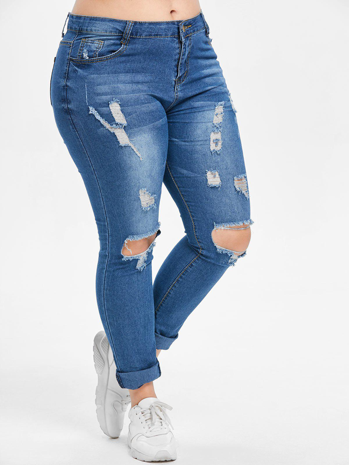 Cheap Plus Size Zipper Fly Jeans with Holes