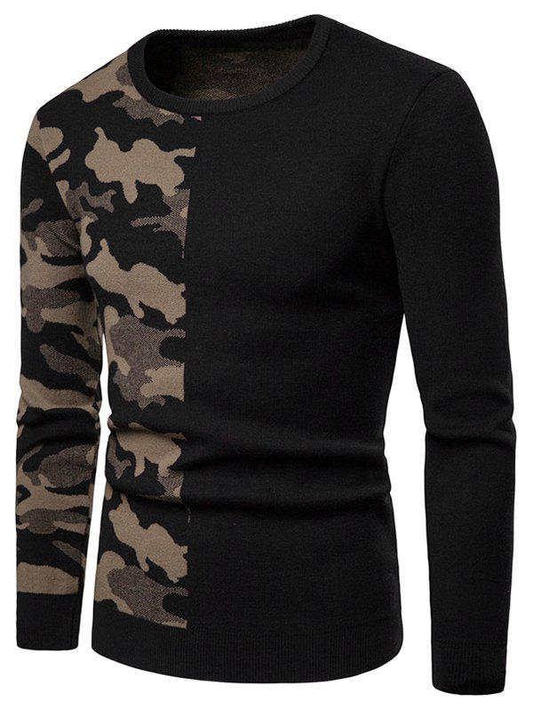 Shop Camouflage Pattern Contract Color Pullover Sweater