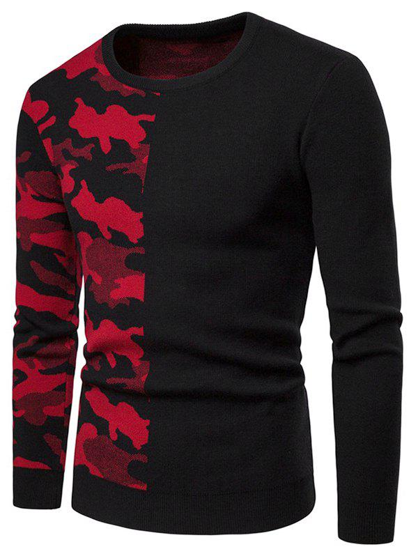 Chic Camouflage Pattern Contract Color Pullover Sweater