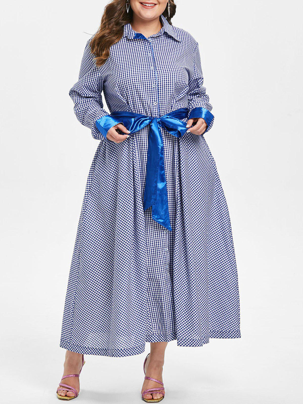 Shops Plus Size Long Sleeves Plaid Shirt Dress