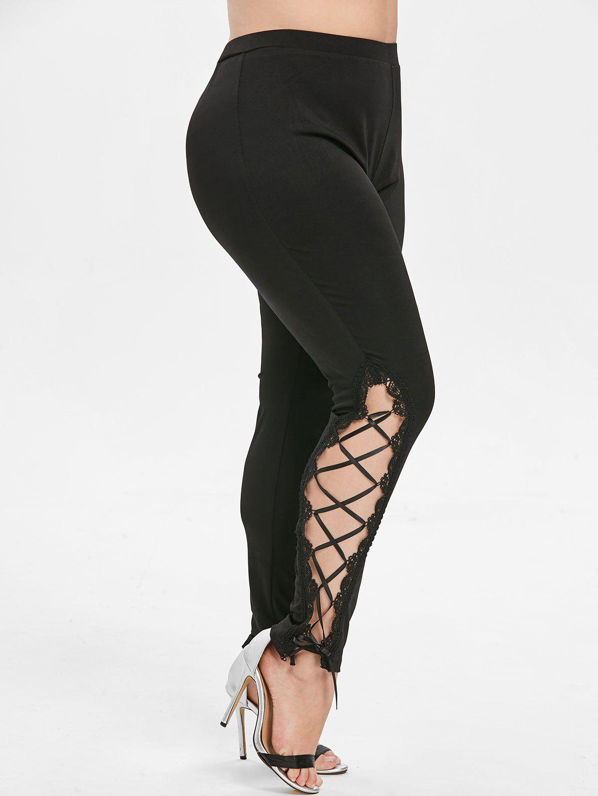 Chic Plus Size Lace Panel Skinny Leggings