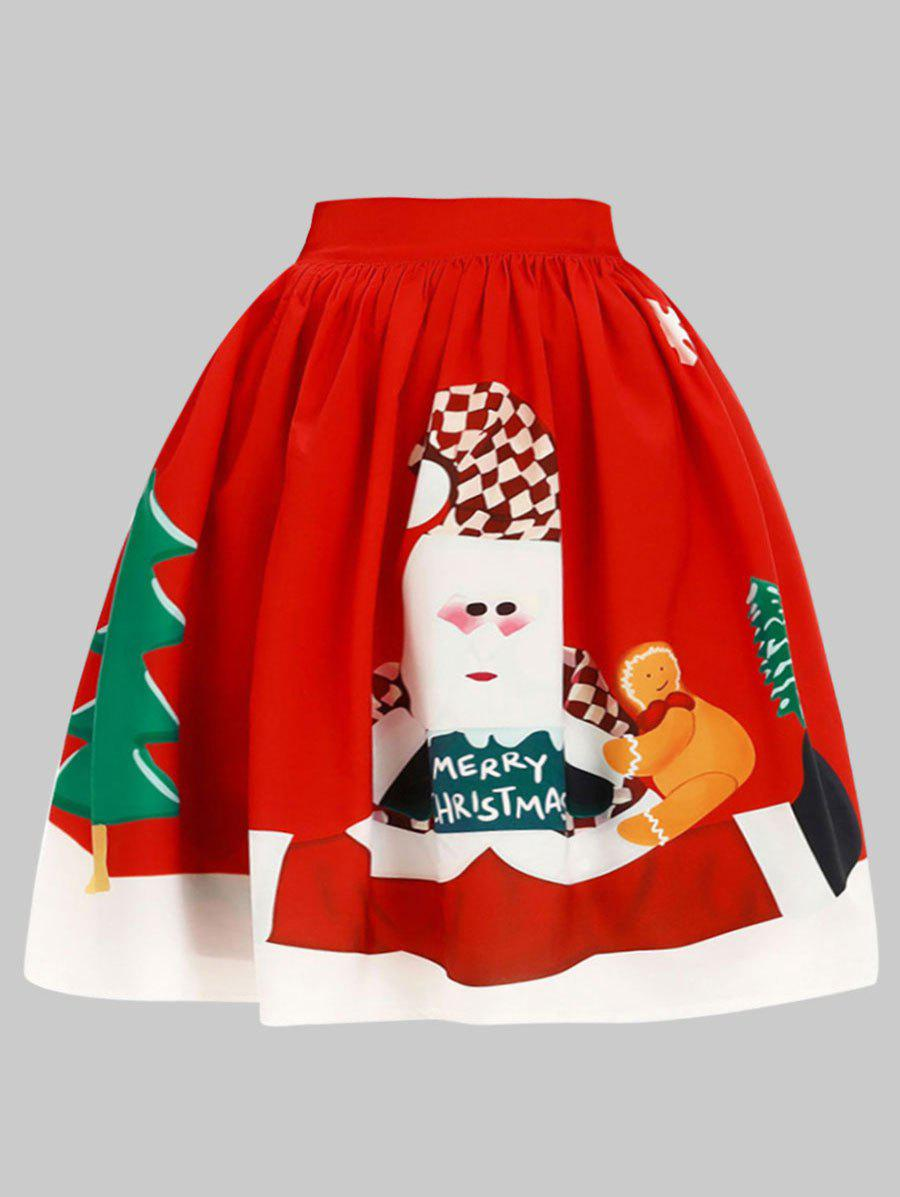 Outfits Plus Size Christmas Elk Knee Length Skirt