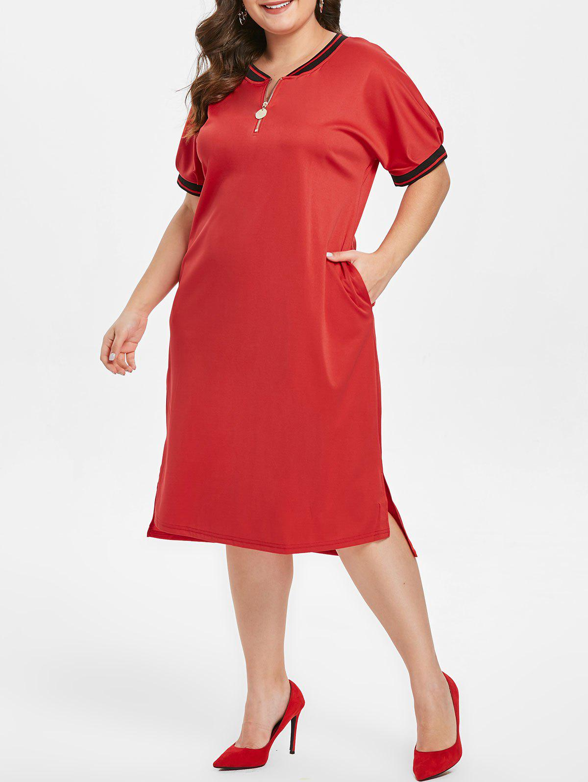 Sale Half Zip Embellished Plus Size Short Sleeve Shift Dress
