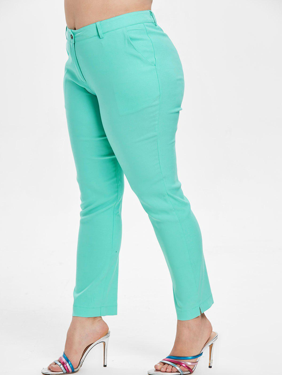 Fancy Mid Waist Plus Size One Button Pants