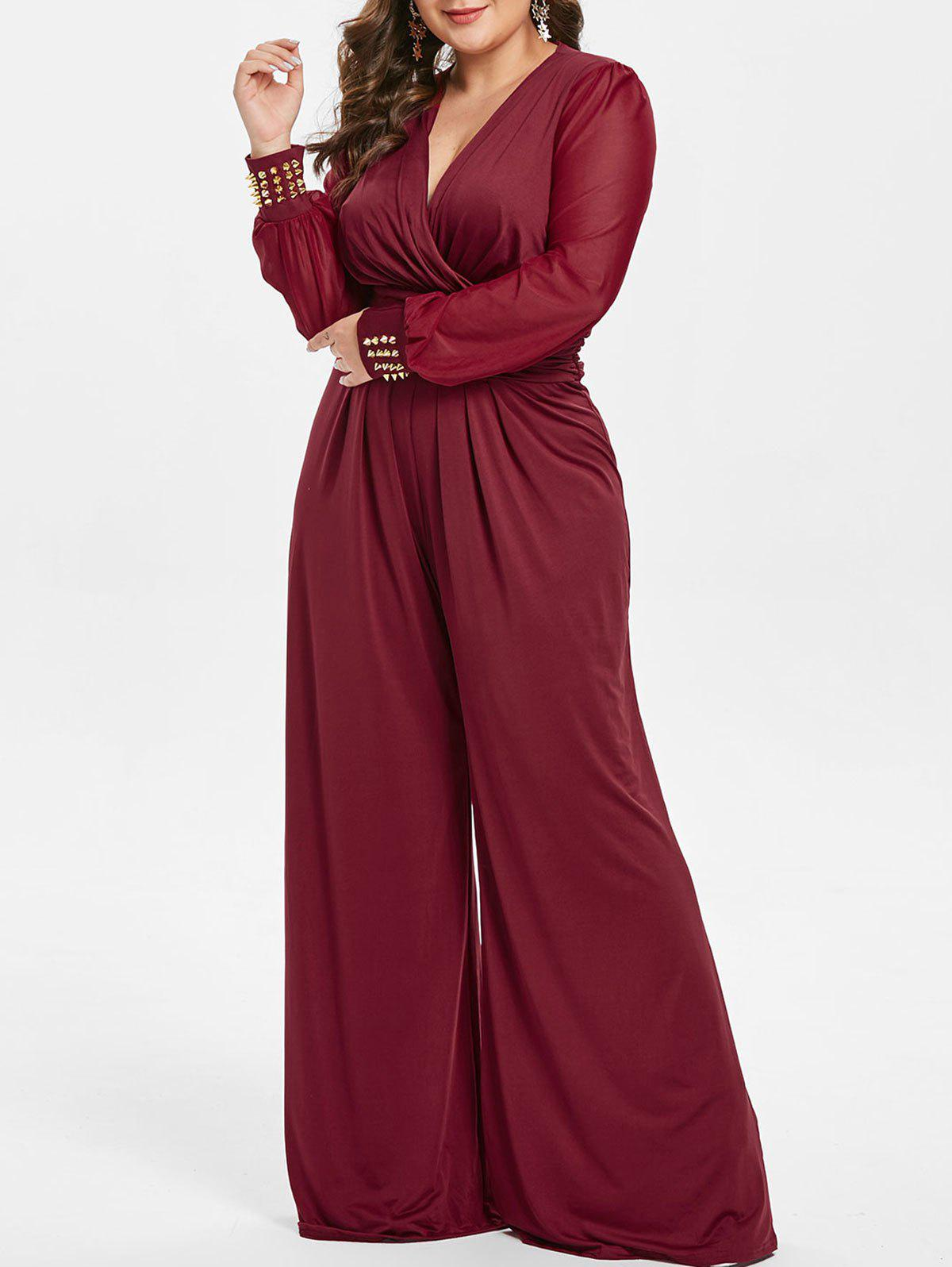 Trendy Plus Size High Waisted Surplice Jumpsuit with Rivets