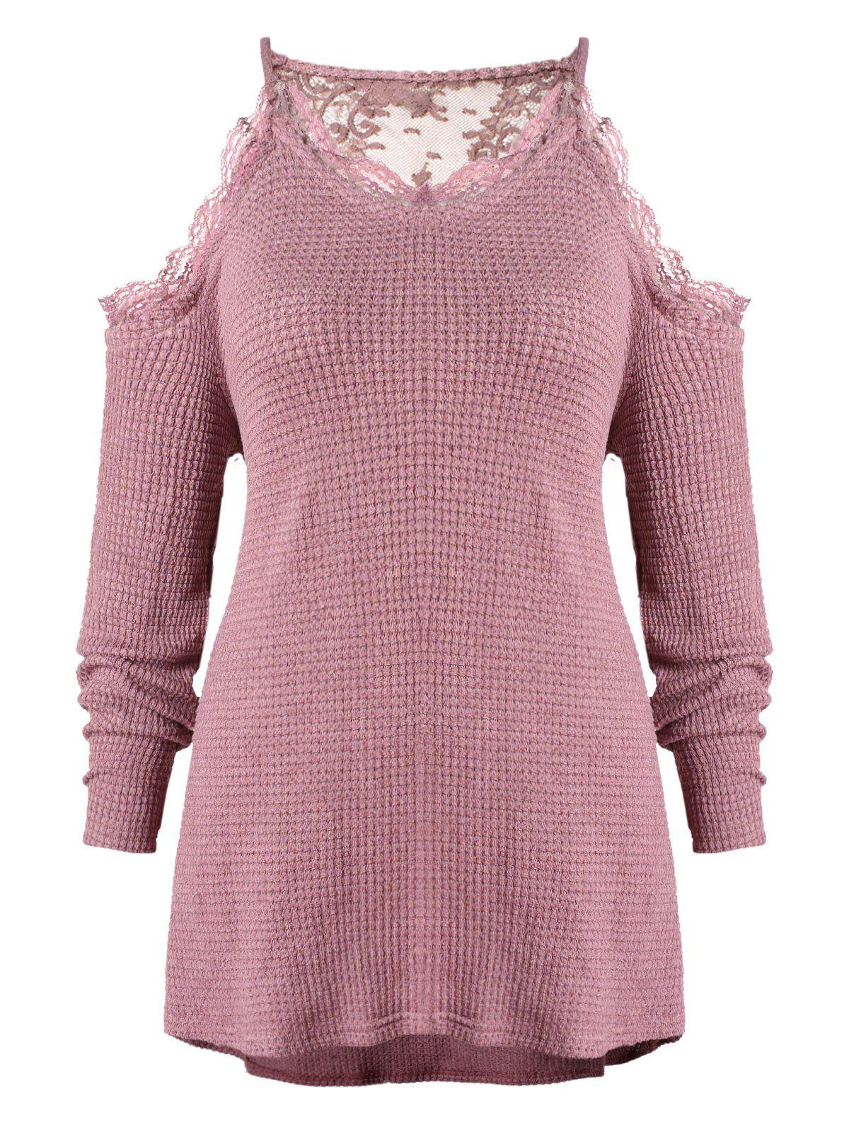 Fashion Plus Size Lace Trim Open Shoulder Knitwear