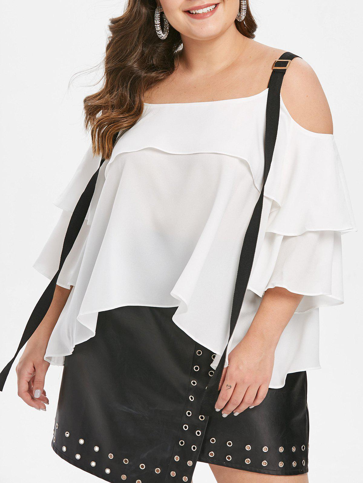 Outfit Plus Size Cold Shoulder Flounce Contrast Blouse