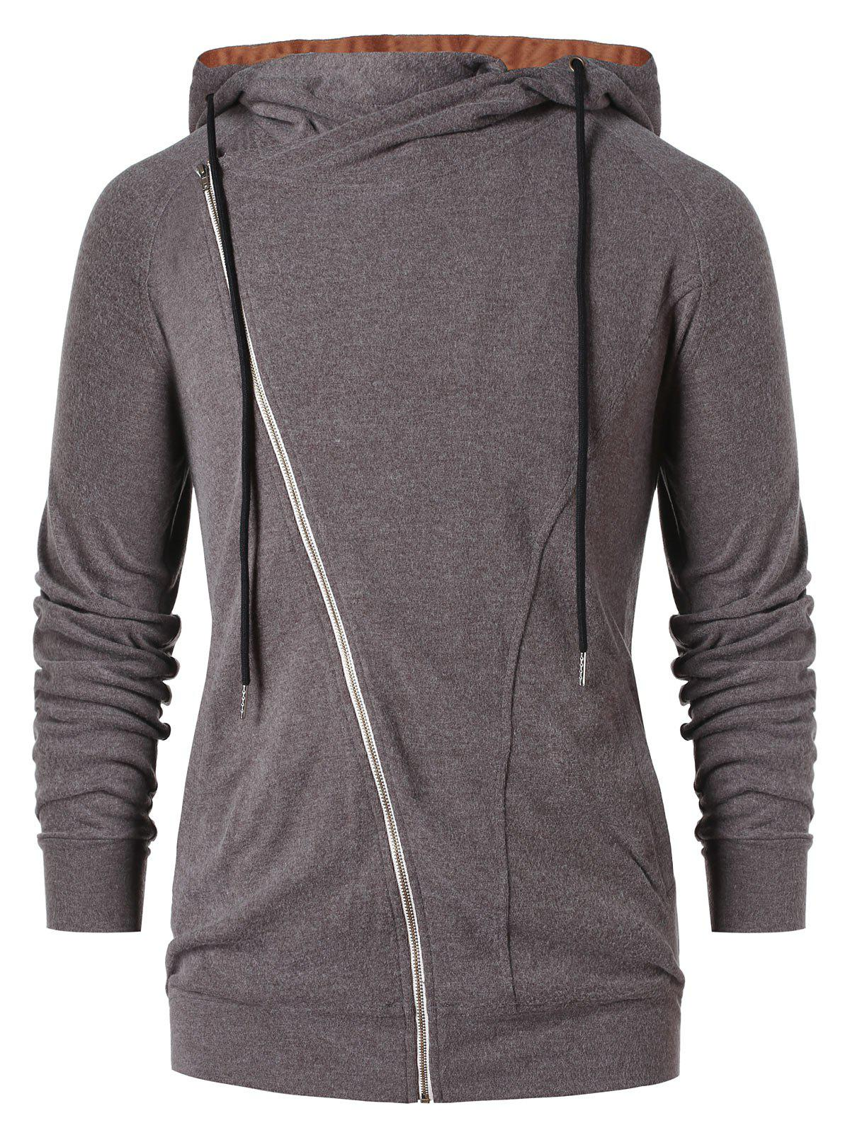 Discount Asymmetric Zip Color Block Hoodie