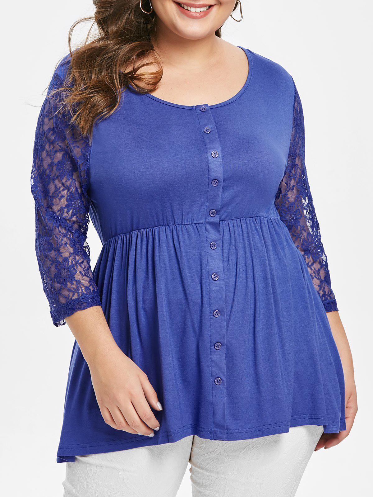 Discount Scoop Neck Plus Size Lace Sleeve T-shirt
