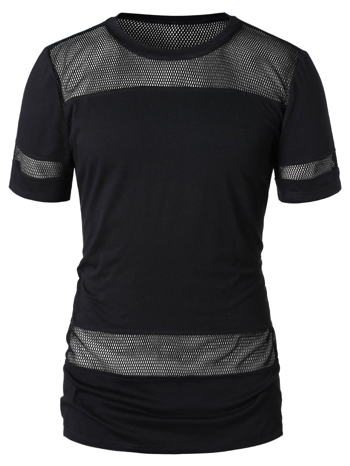 Trendy Short Sleeve Mesh Panel T-shirt