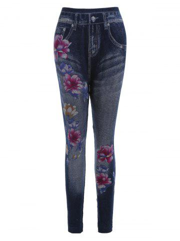 f47862cca6aec [45% OFF] Lotus Flower Print Faux Denim Leggings | Rosegal