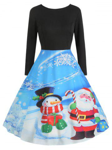 Christmas Print Long Sleeve Vintage Dress