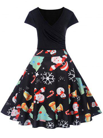 Christmas Print V Neck A Line Dress