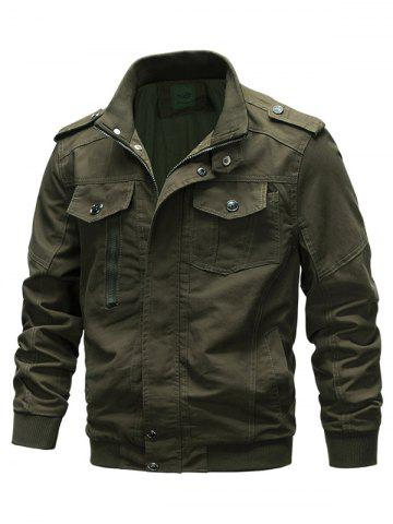 Front Pocket Stand Collar Zipper Military Jacket