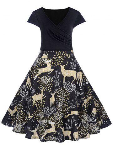 Christmas Deer Print V Neck A Line Dress