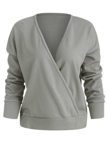 Knit Drop Shoulder Wrap Sweater