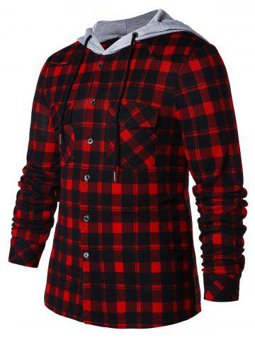 Front Pocket Button Up Plaid Hoodie