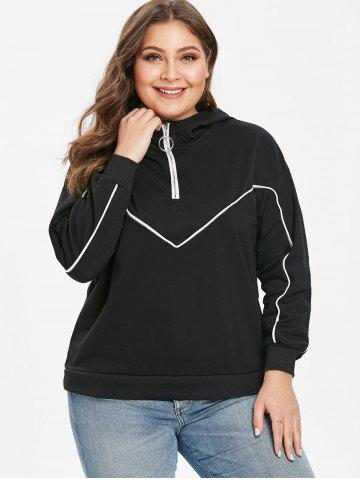 Plus Size Half Zipper Drop Shoulder Hoodie