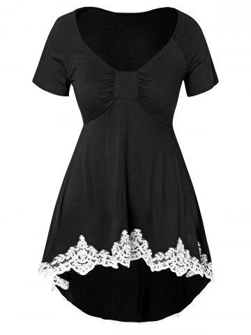 Plus Size Applique Dip Hem T-shirt