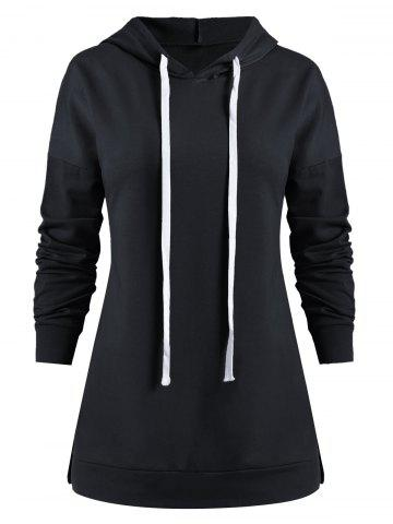 Drop Shoulder Drawstring Long Sleeve Hoodie