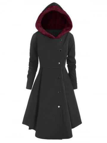 Plus Size Contrast Asymmetric Hooded Skirted Trench Coat - CARBON GRAY - 1X