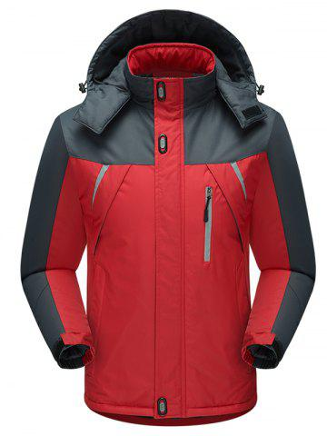 Contract Color Outdoor Climbing Hooded Padded Jacket - RED - XS