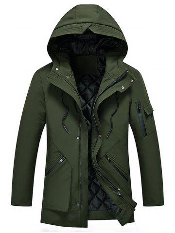 Zip Spliced 3D Pocket Embellish Hooded Padded Coat - ARMY GREEN - XS