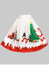 Plus Size Christmas Pattern Knee Length Skirt -