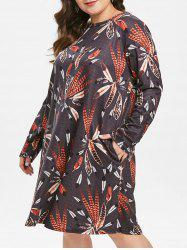Plus Size Pockets Feather Printed Long Sleeves Dress -