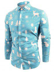Christmas Elements Print Hem Curved Button Up Shirt -