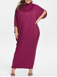 Cowl Neck Plus Size Slit Sleeve Maxi Dress -